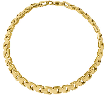 "14K Gold Rectangle Link 7-1/2"" Bracelet, 5.9g"