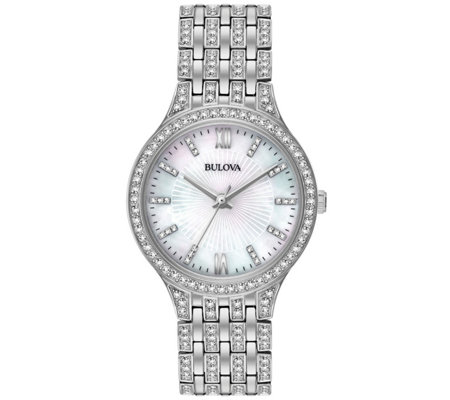 Bulova Women's Stainless Crystal Bracelet Watch