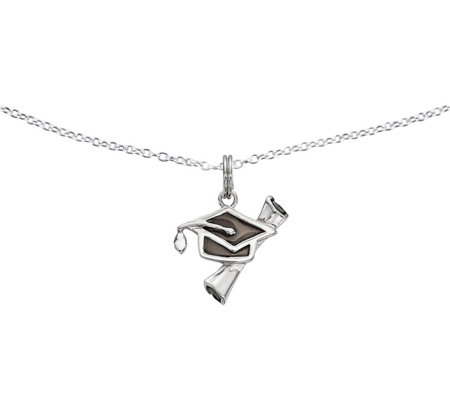 "Sterling Diploma & Cap Pendant w/18"" Chain by Silver Style"