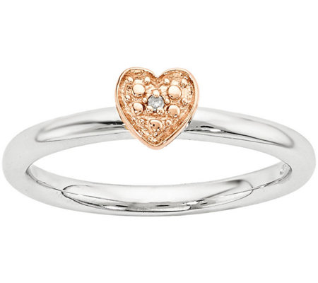 Simply Stacks Sterling Diamond Accent Heart Ring