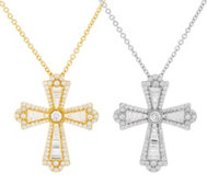Judith Ripka Sterling or 14K Clad Baguette Cross Necklace