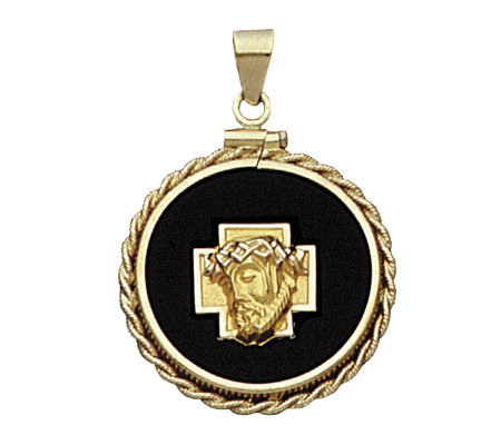14K Yellow Gold Christ Head Charm on Black OnyxDisc