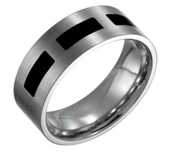 Forza Men's 8mm Steel with Black Accent FlatRing - J109514