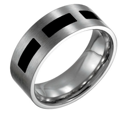 Forza Men's 8mm Steel with Black Accent FlatRing
