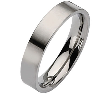 Titanium Flat 5mm Brushed Ring - Unisex