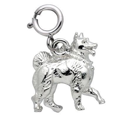 Sterling Samoyed Dog Charm