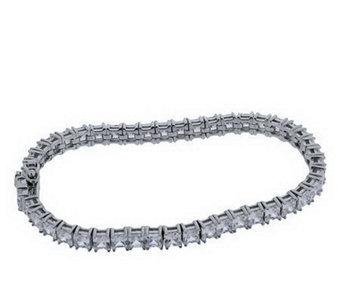 Diamonique Princess Cut Tennis Bracelet, Platinum Clad - J111414