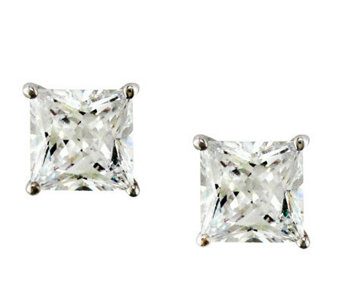 Diamonique 5.00 cttw Princess Cut Stud Earrings , Platinum Cla - J112314