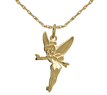 Disney tinker bell pendant wchain 14k gold page 1 qvc disney tinker bell pendant wchain 14k gold aloadofball Images