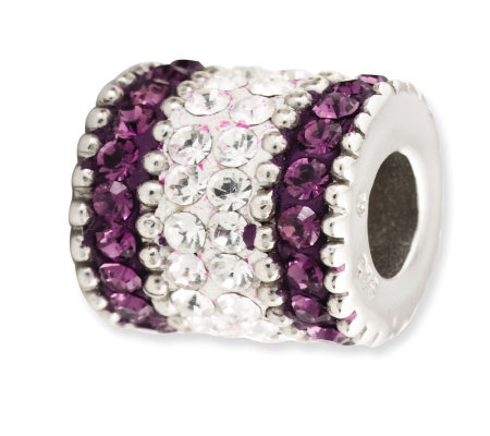 Prerogatives Sterling Purple Crystal Barrel Bead