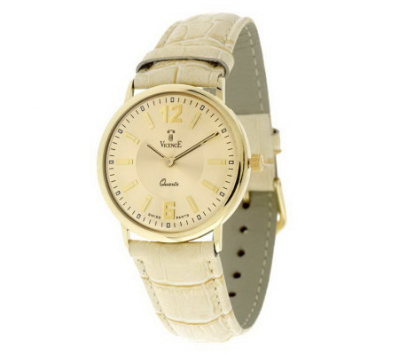 Vicence Ladies Bold Round Case Croco Strap Watch, 14K Gold