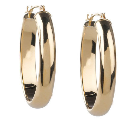 EternaGold Bold Polished Oval Hoop Earrings 14K Gold Tube Page 1