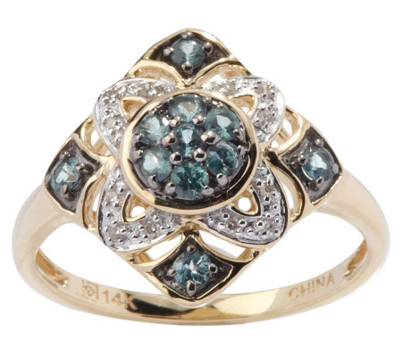 0.35 ct tw Alexandrite & Diamond Accent Cluster Design Ring, 14K