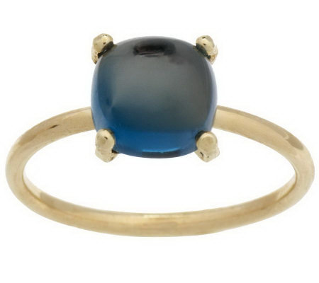 Cushion Shaped Gemstone Cabochon Stack Ring 14K Gold
