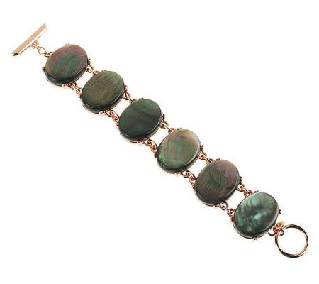 "Honora 7-1/4"" Mother-of-Pearl Oval Cabochon Bronze Bracelet"