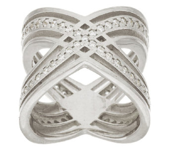 "Vicenza Silver Sterling Polished Diamonique ""X"" Design Ring - J276414"