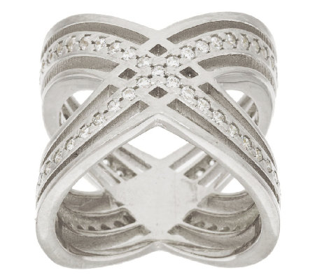 "Italian Silver Polished Crystal ""X"" Design Ring Sterling"