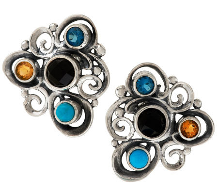 Carolyn Pollack Multi-gemstone Sterling Swirl Design Button Earrings