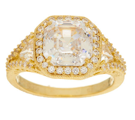 Judith Ripka Sterling & 14K Clad 6.20ct Diamonique 3-Stone Ring