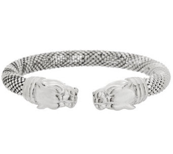 VicenzaSilver Sterling Lion Head Diamond Cut Bead Wrapped Cuff - J286414