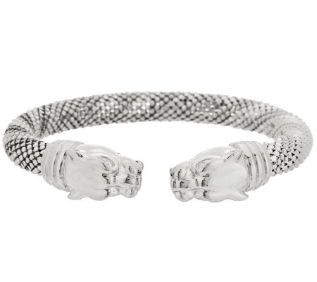 VicenzaSilver Sterling Lion Head Diamond Cut Bead Wrapped Cuff