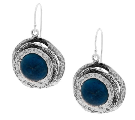 Sterling Silver Apatite Cabochon Earrings by Or Paz