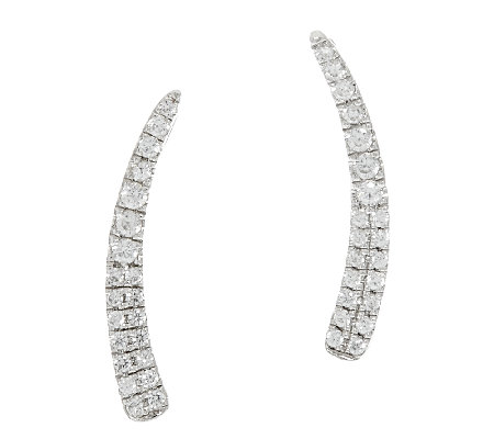 Graziela Gems White Zircon Sterling/18K Earring Climber 0.30 ct tw