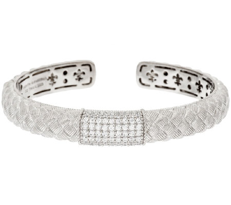 Judith Ripka Sterling Pave' Diamonique Textured Cuff