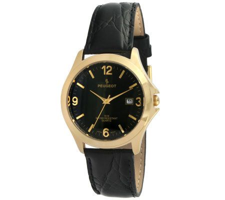 Peugeot Men's Goldtone Black Leather Strap Watch