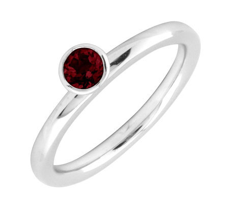 Simply Stacks Sterling 4mm Round Garnet Stackable Ring