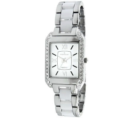 Peugeot Women's Rectangular White Dial AcrylicLink Watch
