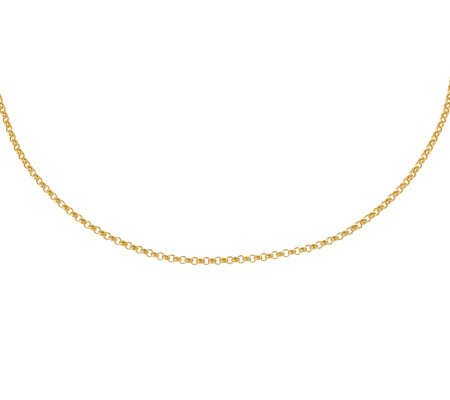 "16"" Polished Classic Rolo Link Necklace,14K Gold 1.6g"