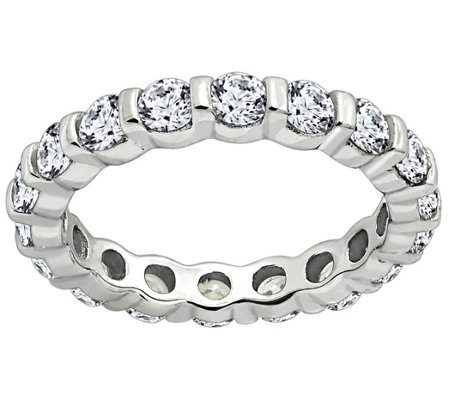 Diamonique 1.90 cttw Eternity Band Ring, Platinum Clad