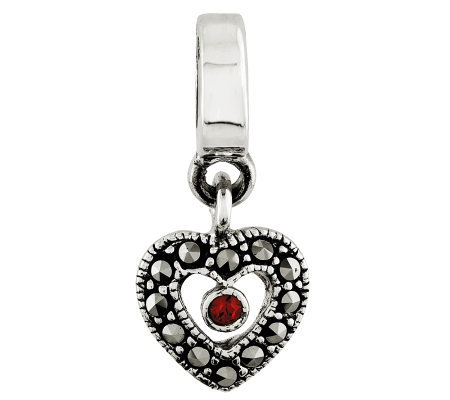 Prerogatives Sterling Marcasite Heart Dangle Bead