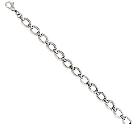 "Stainless Steel 8-1/2"" Polished & Textured OvalLink Bracelet"