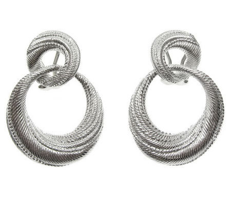Judith Ripka Sterling Silver Textured Swirl Earrings