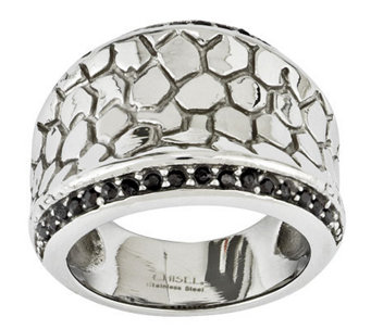Stainless Steel Black Crystal Cobblestone Ring - J312914