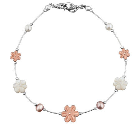 Carolyn Pollack Sterling Blushing Joy Anklet