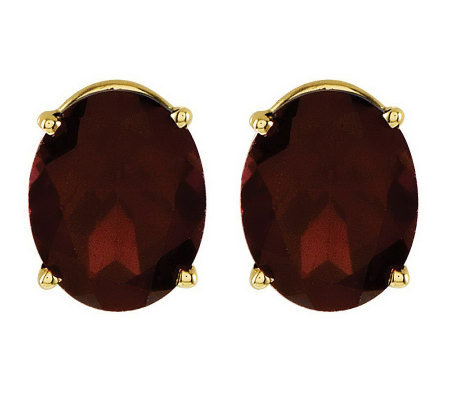 Oval Gemstone Stud Earrings, 14K Gold