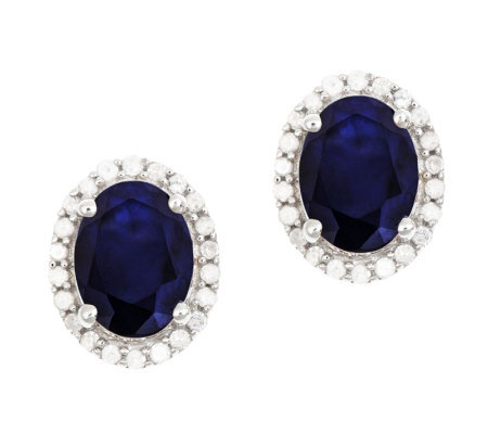 Sterling Sapphire 1/5 ct tw Diamond Halo Stud Earrings