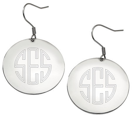 Stainless Steel Polished Engravable Disc Dangle Earrings