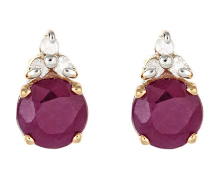0.95 ct tw Ruby and Diamond Accent Earrings, 14K Gold