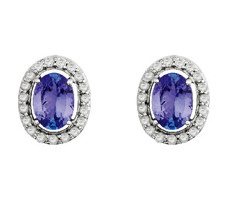 Sterling 1.30 ct tw Oval Tanzanite with Halo Stud Earrings