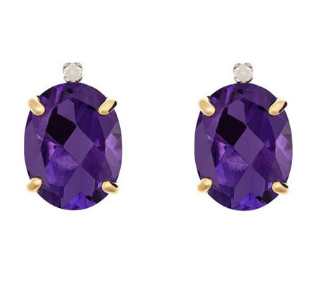 Oval Gemstone & Diamond Accent Stud Earrings, 14K
