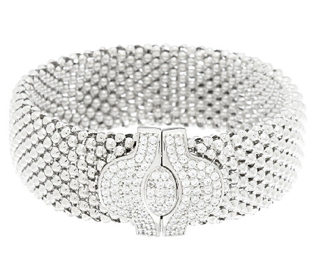 """As Is"" Italian Silver Sterling 7-1/4"" Mesh Bracelet w/ Crystal Clasp"