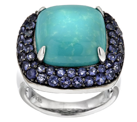 """As Is"" Cushion Cut Turquoise & 1.10 cttw Iolite Sterling Ring"