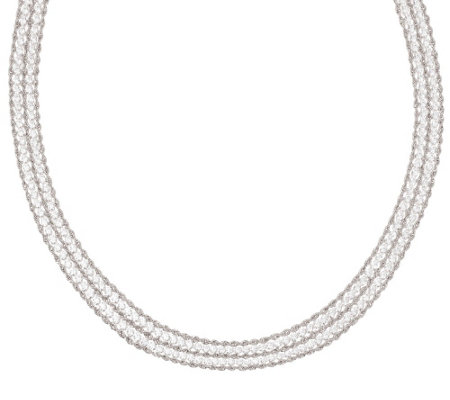 """As Is"" Vicenza Silver Sterling 18"" Diamonique & Rope Necklace"