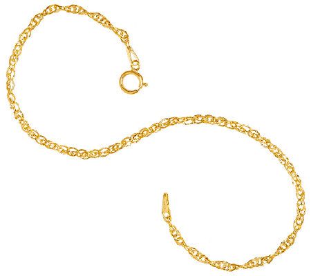 "Vicenza Gold 7-1/4"" Twisted Singapore Bracelet, 14K"