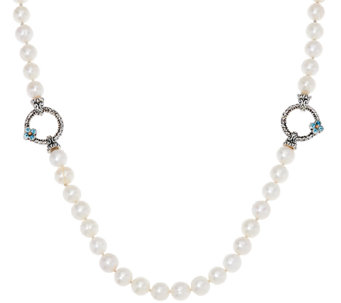 "Barbara Bixby Sterling 24"" Cultured Pearl Gemstone Accent Adj. Necklace - J323614"