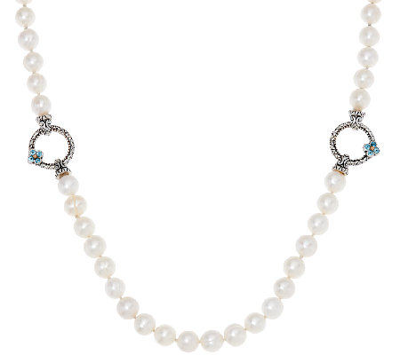 "Barbara Bixby Sterling 24"" Cultured Pearl Gemstone Accent Adj. Necklace"